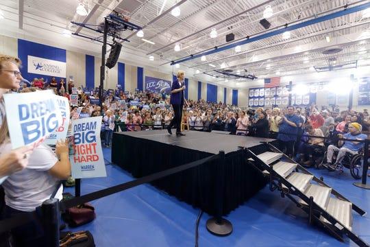 Democratic presidential candidate Sen. Elizabeth Warren, D-Mass., speaks, Tuesday, June 4, 2019, at Lansing Community College in Lansing, Mich.