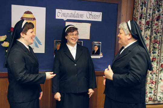 Sister Cecilia Joy Kugel (from left), Sister Clare Rose Oswald and Sister Colleen Demro.