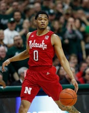 Nebraska guard James Palmer Jr. brings the ball up court during the first half of an NCAA college basketball game against Michigan State, Tuesday, March 5, 2019, in East Lansing, Mich. (AP Photo/Carlos Osorio)