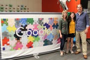 Ella Hannes found out she was the Wisconsin winner of Doodle for Google at a surprise assembly with her parents, Mary and David, at Kettle Moraine Middle School May 30.