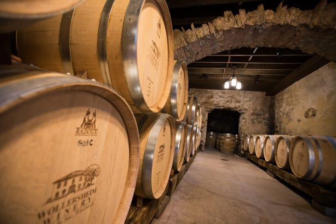 Barrels in aging cellars at Wollersheim Winery.
