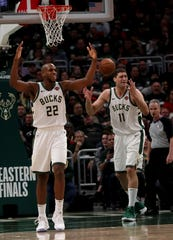 Milwaukee Bucks forward Khris Middleton (22) and center Brook Lopez will spend some time in Las Vegas this summer for the Team USA training camp.