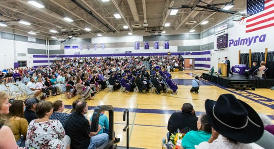 Traditional graduation ceremonies of packed gymnasiums, football stadiums or auditoriums such as this ceremony at Palmyra-Eagle High School last year will not be the case for the class of 2020 this year due to the coronavirus pandemic. The pandemic has forced schools to seek alternatives for their graduation ceremonies.
