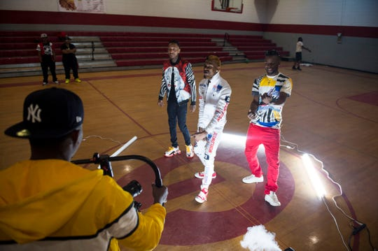 "Derrick ""Dash"" Jones films a music video for Skybokk and Rubberband OG at Goodwyn Community Center in Montgomery, Ala., on Sunday, March 17, 2019."