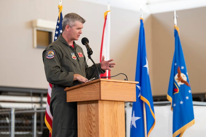 Col. Edward Casey, incoming 187th Fighter Wing commander, speaks to attendees May 31, 2019, during the 187th Fighter Wing change of command ceremony held in the hangar on Dannelly Field, Ala. Casey previously served as the 187th FW vice commander.