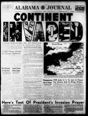 Cover of the Alabama Journal on D-Day, June 6, 1944.