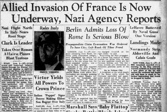 The first mention of D-Day in the Montgomery Advertiser, delivered the morning of June 6, 1944.