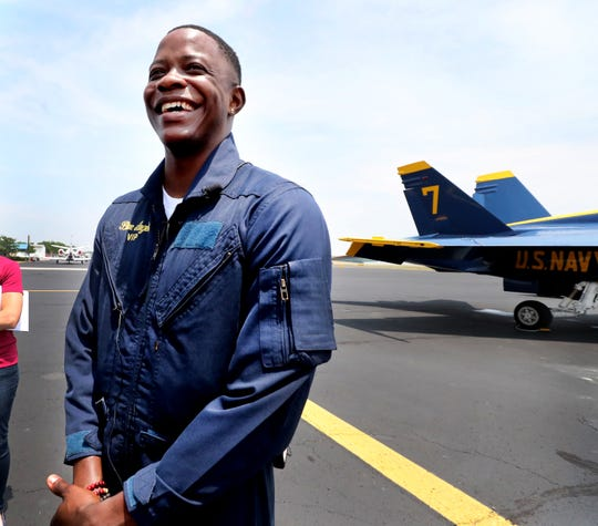 James Shaw Jr., the Waffle House hero is all smiles after flying with Lt. Cary Rickoff of the U.S.Navy Blue Angels on the #7 F-18 Hornet, on Wednesday, June 5, 2019, at the Smyrna Airport.