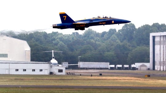 James Shaw Jr., the Waffle House hero flies with Lt. Cary Rickoff of the U.S.Navy Blue Angels #7 F-18 Hornet, on Wednesday, June 5, 2019, at the Smyrna Airport.