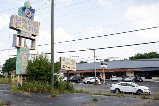 A-1 Used Cars sits across from Good Wood Nashville on Dickerson Pike Wednesday, June 5, 2019, in Nashville, Tenn.