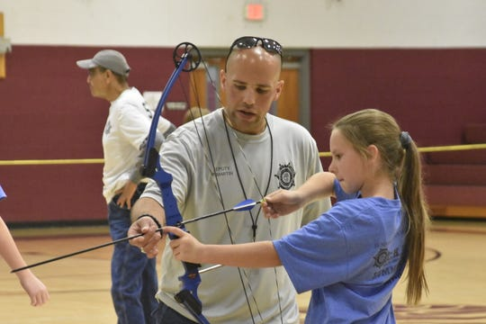 Students learn archery at CHAMP Camp, held by the Sumner County Sheriff's Office School Resource Officers and Anti-Drug Coalition at Rucker-Stewart Middle School in Gallatin.