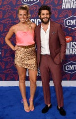 Thomas Rhett and wife Lauren Akins on the red carpet before the 2019 CMT Awards at Bridgestone Arena Wednesday, June 5, 2019, in Nashville, Tenn.