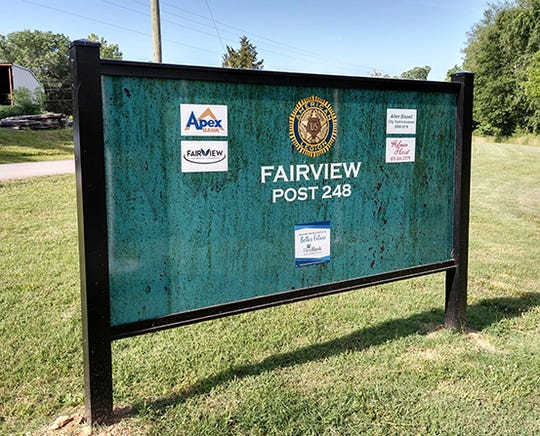 The back of the new sign at Fairview's Veterans Memorial Park provides space for park sponsors.
