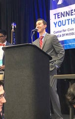 Fairview High's Sid Braddy campaigning for Governor at the Youth in Government conference March 2019.