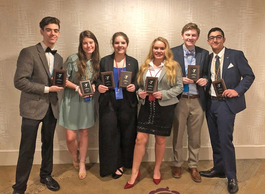 2019 Youth in Government award winners Austin Hendrickson, Emma Vance, Alexis Miniat, Laney Wilbert, Ryan Kilgore, Krish Dogra.