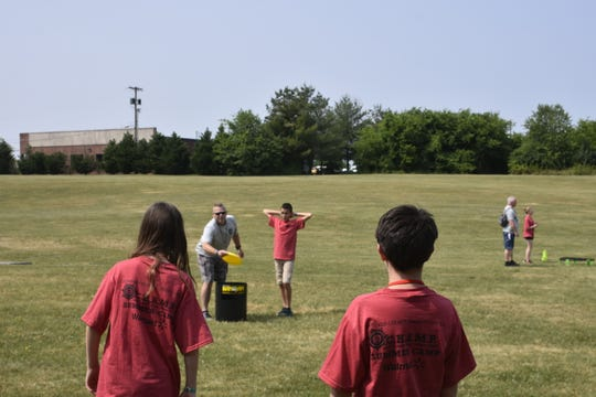 Students play games outside at CHAMP Camp, held by the Sumner County Sheriff's Office School Resource Officers and Anti-Drug Coalition at Rucker-Stewart Middle School in Gallatin.