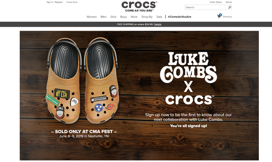Luke Combs and Crocs have announced a collaboration inspired by the country musician's guitar and sold only at CMA Fest 2019 in Nashville.