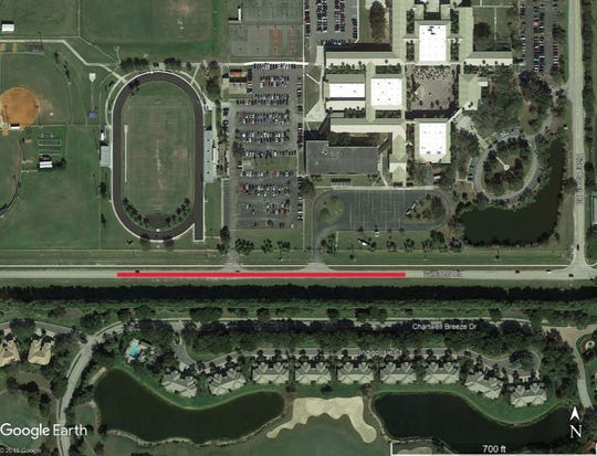 The red line shows where turn lane improvements are planned on Williams Road in Estero near Estero High School.