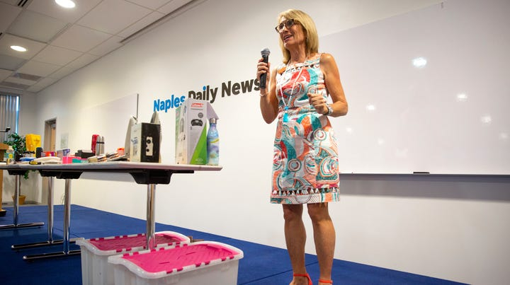 Marla Ottenstein, a Naples professional organizer, leads a presentation on hurricane preparedness during a hurricane seminar, Wednesday, June 5, 2019, at the Naples Daily News.