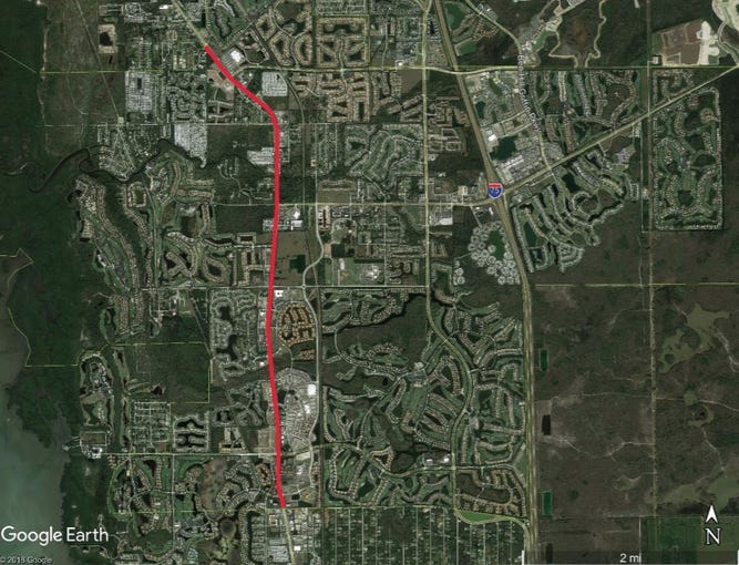 The red line shows where landscaping improvements are planned in Estero on U.S. 41.
