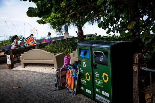 Two solar trash compactors have been placed on Vanderbilt Beach, seen here on Wednesday, June 5, 2019. Ten Collier County beaches and marinas now have the solar trash compactors, which hold 180 gallons of waste and aim to reduce waste.