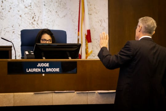 Collier Circuit Judge Lauren L. Brodie listens as John F. Hooley argues for the dismissal of a civil wrongful death case against his client, former Collier County sheriff's deputy Steve Calkins, at the Collier County Courthouse in Naples on Wednesday, June 5, 2019. Calkins is being sued by Marcia Williams, the mother of Terrance Williams, who was last seen getting into Calkins' patrol car in January 2004.