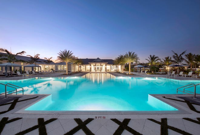 Azure at Hacienda Lakes' private, 9,500 square-foot residents' clubhouse features numerous indoor and outdoor amenities for homeowners to enjoy year-round.