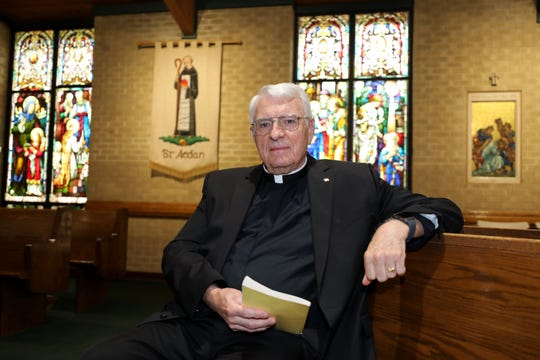 Rev. Msgr. Emmet R. Nevin, the pastor of St. Aedan Catholic Church in Pearl River, is pictured in the church, June 5, 2019.