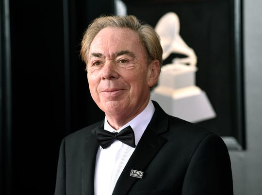 "In this Jan. 28, 2018 photo, Andrew Lloyd Webber arrives at the 60th annual Grammy Awards at Madison Square Garden in New York. A new permanent exhibit opening Tuesday, June 11, 2019, offers visitors an Instagram-ready chance to put on costumes and sing some of Broadway's most famous show tunes, but also a taste of what's going on backstage, from controlling fog to switching on lights. While it's billed as ""The Ultimate Broadway Experience,"" the truth is it's more a Lloyd Webber experience, featuring only props, music and characters from the theater icon's work: ""The Phantom of the Opera,"" ""Joseph and the Technicolor Dreamcoat,"" ""Evita,"" ""Sunset Boulevard,"" and ""Cats."""
