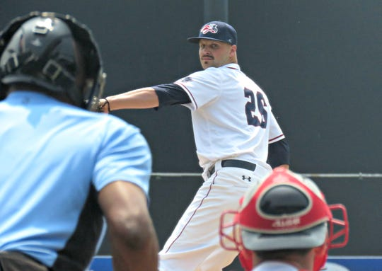 Somerset Patriots starter Vince Molesky pitches against the Southern Maryland Blue Crabs.