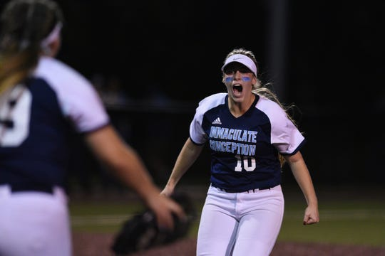 Immaculate Conception defeated Ramsey 5-2 in the semifinals of the Tournament of Champions at Seton Hall University on Tuesday, June 4, 2019. Jaden Farhat celebrates after making the final out.