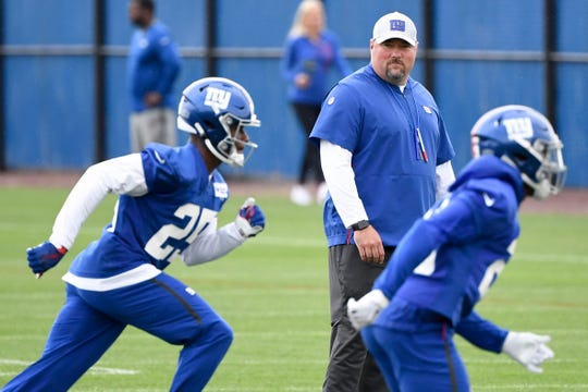 New York Giants defensive coordinator James Bettcher observes drills on Day 2 of New York Giants minicamp on Tuesday, June 4, 2019, in East Rutherford.