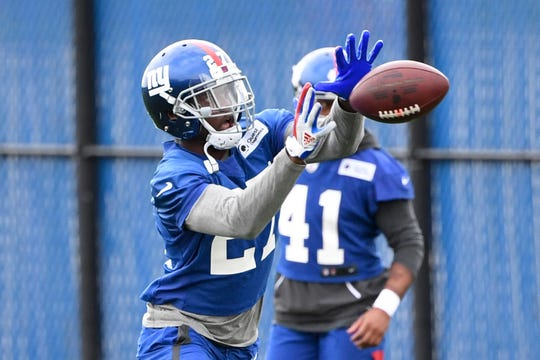 New York Giants rookie cornerback DeAndre Baker participates in drills on Day 2 of Giants minicamp on Wednesday, June 5, 2019, in East Rutherford.