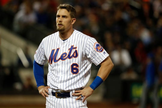 Jeff McNeil of the New York Mets reacts after striking out against the San Francisco Giants during the fifith inning at Citi Field on June 4, 2019 in New York City.