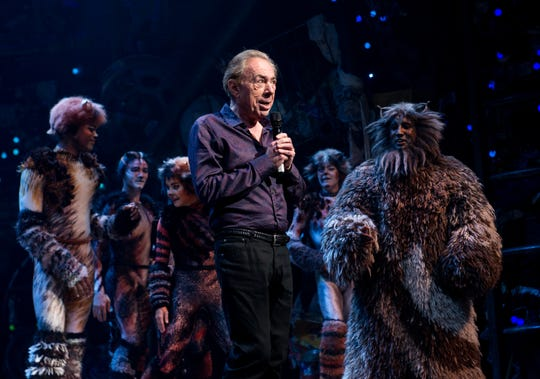 "In this July 31, 2016 photo, Andrew Lloyd Webber speaks onstage at the first-ever revival of his iconic ""Cats"" on Broadway in New York City.  Madame Tussauds' is offering ""The Ultimate Broadway Experience,"" which is an Andrew Lloyd Webber Experience involving hands-on interaction for visitors with props, music, costumes, stage effects and other things associated with putting on a Broadway show."
