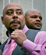Raymond Santana, left, and Kevin Richardson, pictured in 2014, are two of five men exonerated in the Central Park jogger rape case.