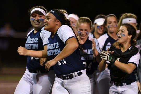 Immaculate Conception defeated Ramsey 5-2 in the semifinals of the Tournament of Champions at Seton Hall University on Tuesday, June 4, 2019. Immaculate Conception pitcher Caylee English #15 and her teammates celebrate after defeating Ramsey.
