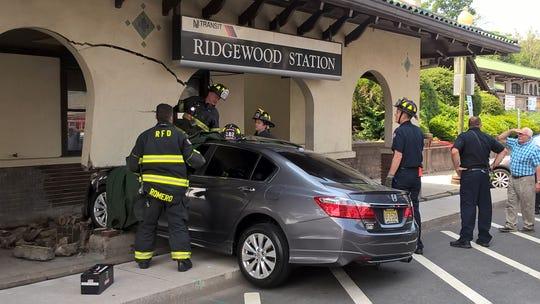 Car crashed into the Ridgewood train station on Wednesday, June 5, 2019.