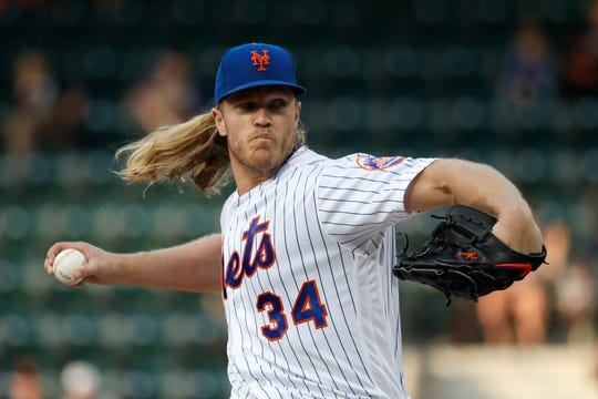 Noah Syndergaard of the New York Mets pitches against the San Francisco Giants during the first inning at Citi Field on June 4, 2019 in New York City.
