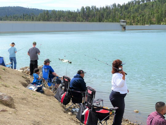 The reservoir level at Grindstone was significantly lower for a previous youth fishing day.