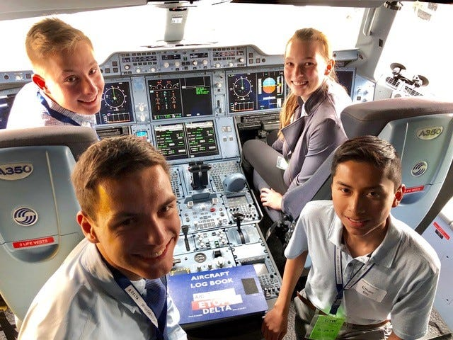 These Michigan students chose to job shadow a pilot and had an opportunity to visit a cockpit of a new plane.