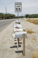 Most residents in Desert Rose Mobile Home Park use P.O. boxes rather than physical mailboxes, which has contributed to the concern that they may be uncounted or undercounted in the census, Thermal, Calif., May 15, 2019.