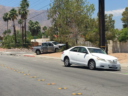 This photo from June 5 shows a traffic collision involving two vehicles on Alejo Road in Palm Springs. One of the drivers died, according to Palm Springs police.