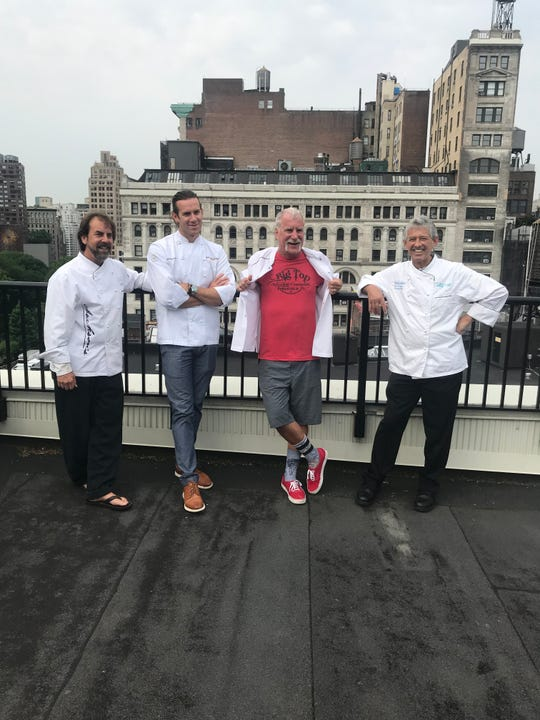 From left, Pensacola chefs Irv Miller, James Briscione, Dan Dunn and Gus Silivos pose for a photo Wednesday in New York City.