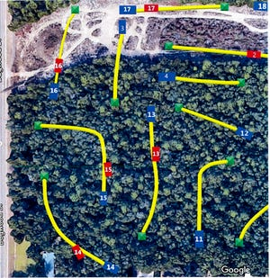 A map shows the potential outline for a disc golf course that's coming to Milton.