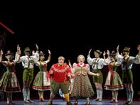 "Kathy Fitzgerald (center right) as Mrs. Gloop in the Broadway musical ""Charlie and the Chocolate Factory."""