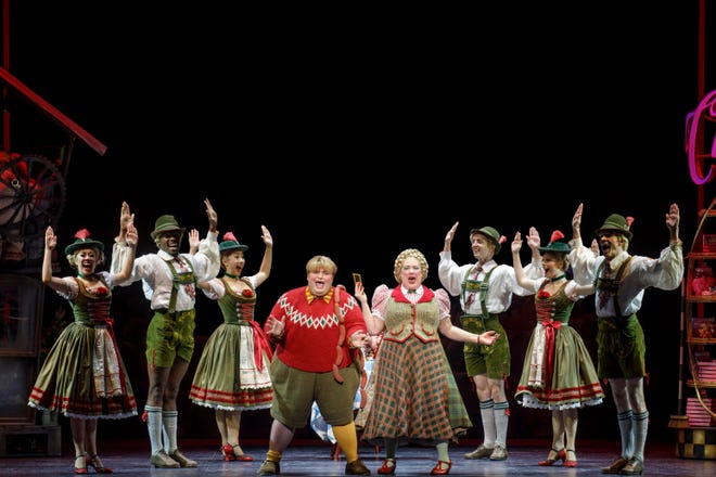 """Kathy Fitzgerald (center right) as Mrs. Gloop in the Broadway musical """"Charlie and the Chocolate Factory."""""""