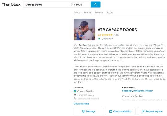 """""""Garage-Door Guy"""" Rick Killingsworth, owner of ATR Garage Doors in Sun City."""