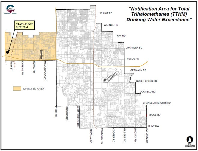 The total trihalomethanes level in Chandler water exceeded the recommended amount, an April test showed. The main affected area is highlighted on the map.
