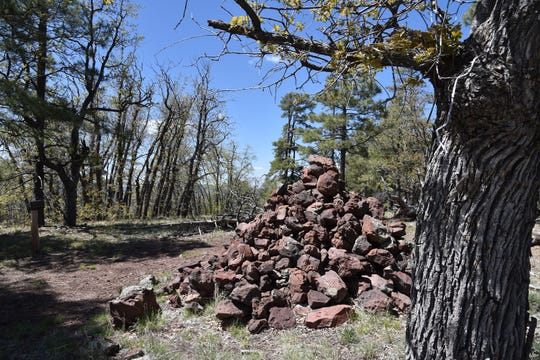 This giant rock cairn marks the summit of 7.805-foot Davenport Hill.